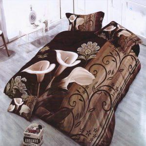 5D virág barna színű pamuthatású ágyneműhuzat