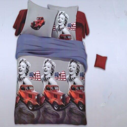 Marilyn Monroe autóval pamut ágyneműhuzat