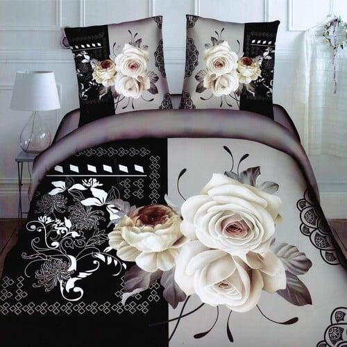 fehér rózsa fekete háttér pamuthatású ágyneműhuzat