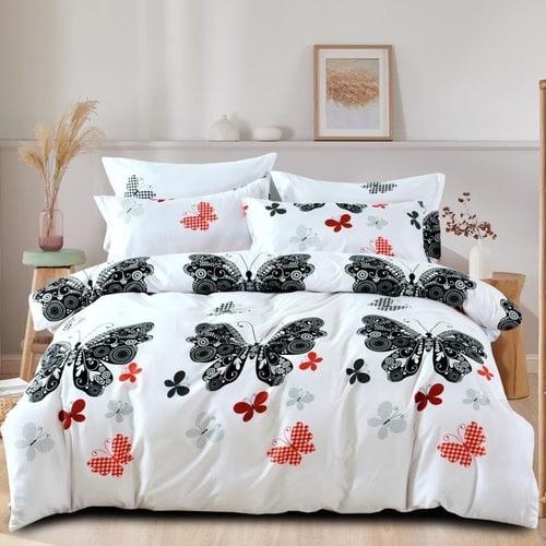 fehér színben színes pillangók pamut ágyneműhuzat