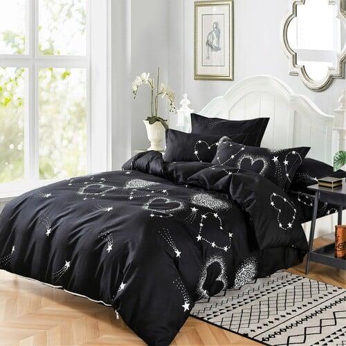fehér szívek fekete színben pamut ágyneműhuzat