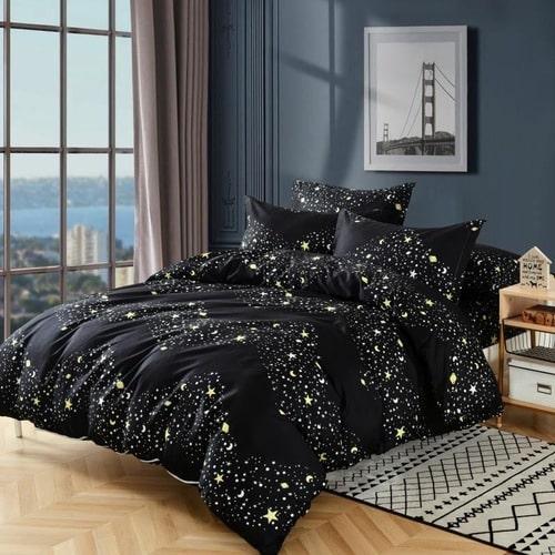 fekete színben csillag mintás pamut ágyneműhuzat