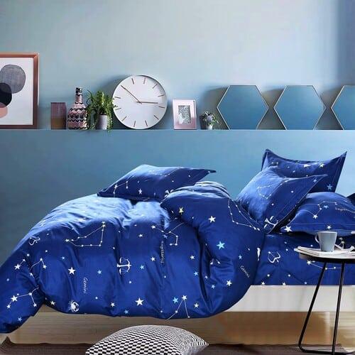 kék színben sárga csillagképek pamut ágyneműhuzat