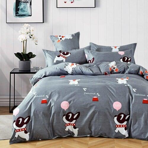 kutyus mintás pamut ágynemű szürke színben