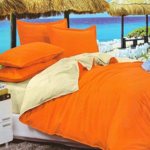 narancssárga és krémszínű pamut ágyneműhuzat