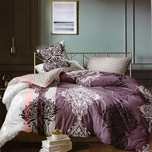 pamut ágynemű bordó árnyalat szürke mintával