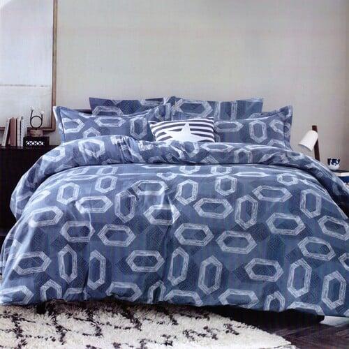 pamut ágynemű kék alapon fehér hatszög