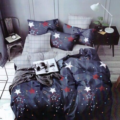 pamut ágynemű kék négyzettel és csillagokkal