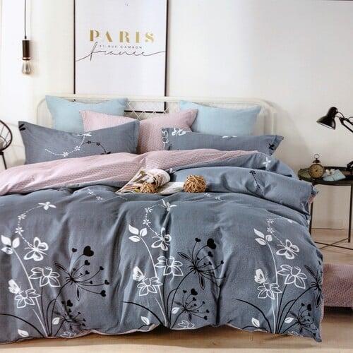 pamut ágynemű kék színben virág mintás