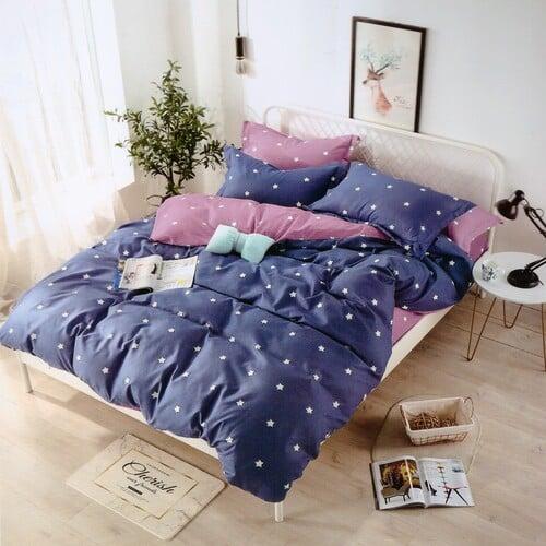 pamut kék rózsaszín fehér csillagokkal ágyneműhuzat