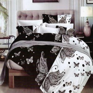pillangók fekete-fehér pamuthatású ágyneműhuzat
