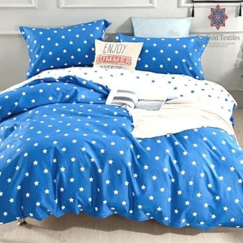 apró csillagok kék színben pamut ágynemű