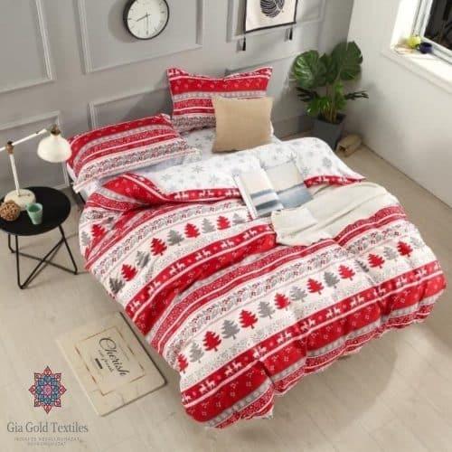 csíkos téli hangulatú minta pamut ágynemű