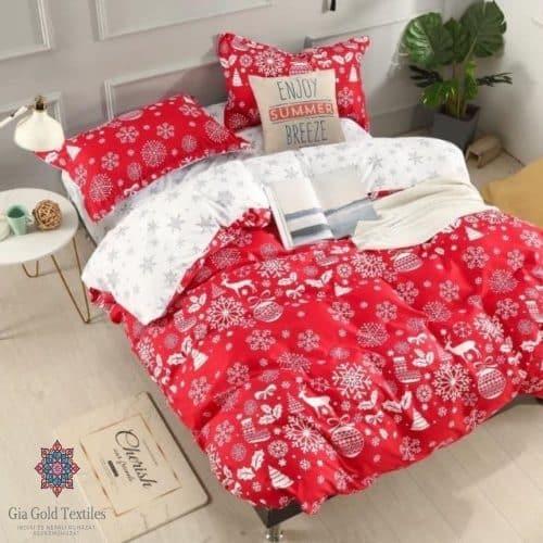 kellemes téli minta piros pamut ágyneműhuzat