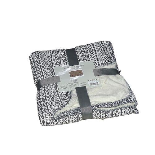 puha takaró hangulatos mintával szürke fehér színben