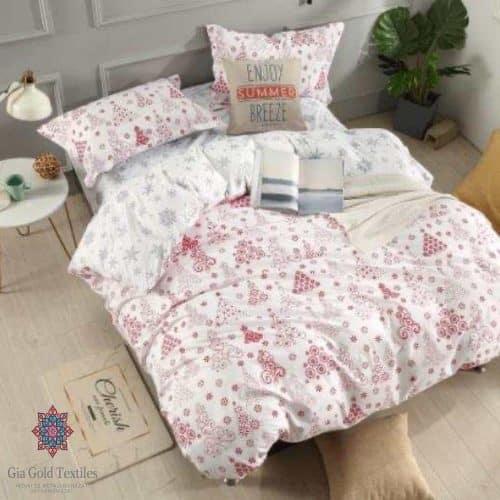 téli mintás fehér színben pamut ágynemű
