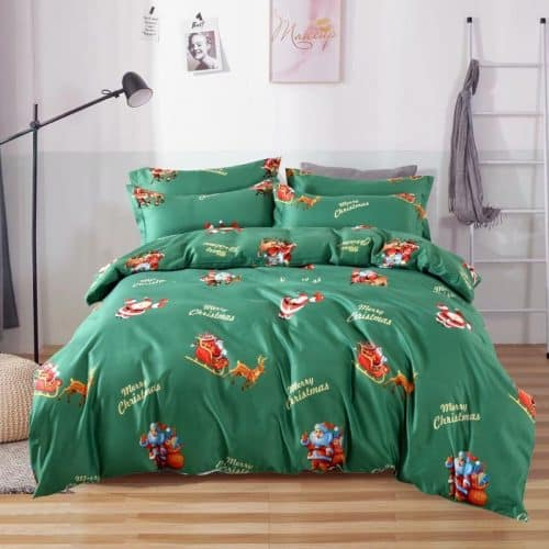 zöld színben karácsonyi mintás pamut ágyneműhuzat