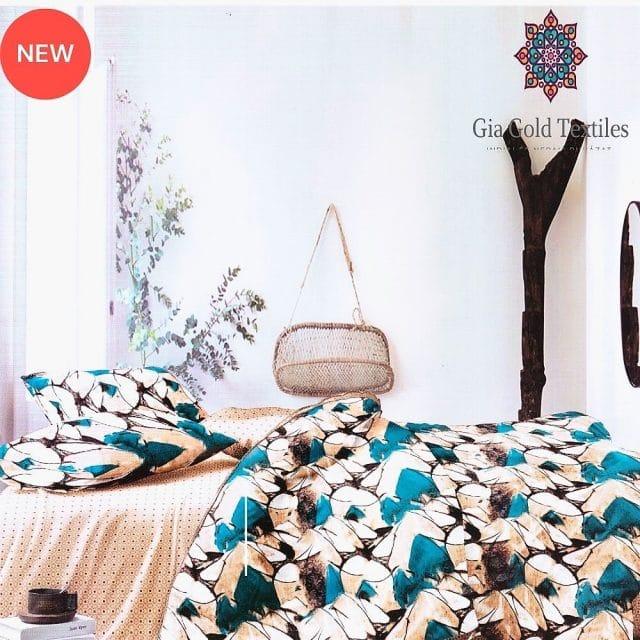 bézs és kék mintával pamut ágyneműhuzat