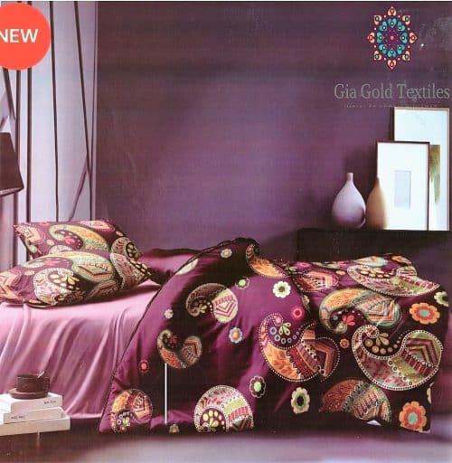 bordó színben mandala mintás pamut ágynemű