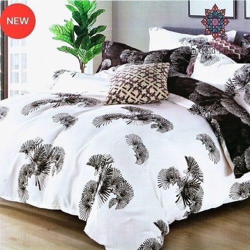 fehér színben sötét mintával pamut ágynemű