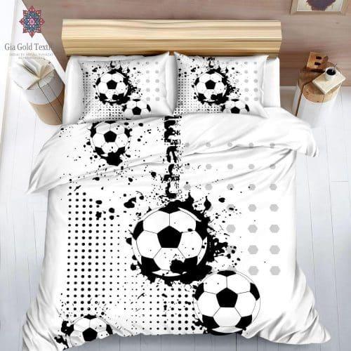 focilabda mintás fekete fehér pamut ágyneműhuzat