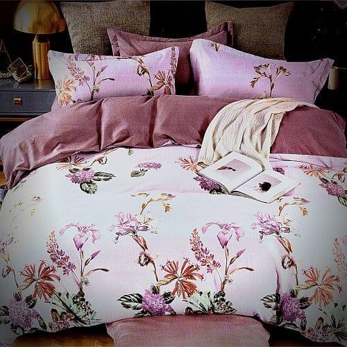 halvány lila virág mintás flanel ágyneműhuzat