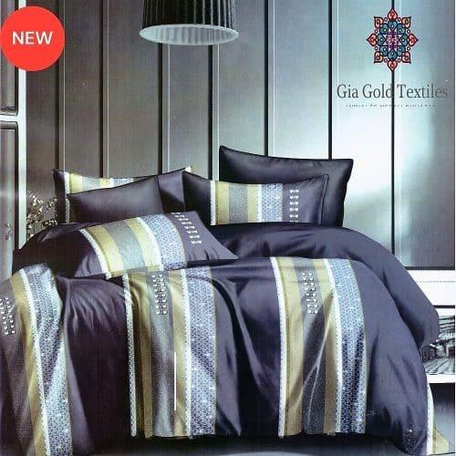 kék és arany csíkos pamut ágynemű