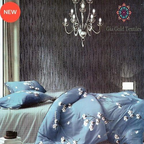 kék színben fehér virágokkal pamut ágyneműhuzat