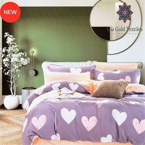 lila színben szív mintával pamut ágynemű
