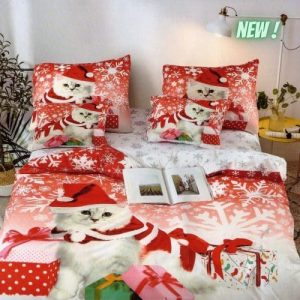 Ágynemű Garnitúra Karácsonyi Cicával
