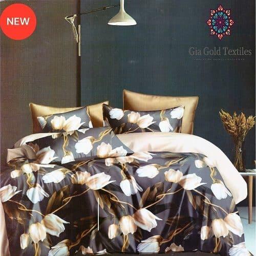 sötét és bézs virágokkal pamut ágynemű