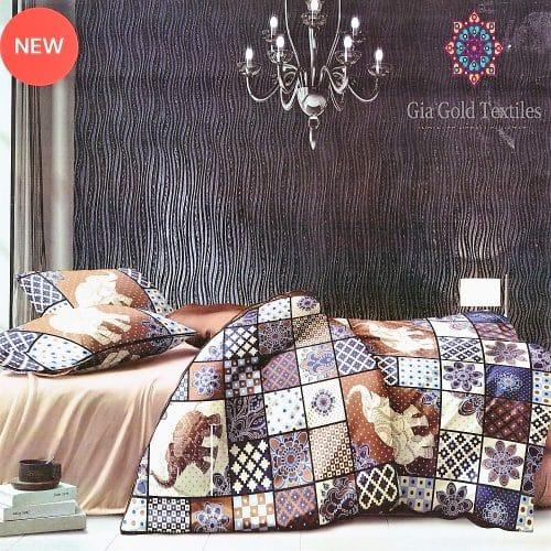 színes kockás elefánt mintás pamut ágynemű