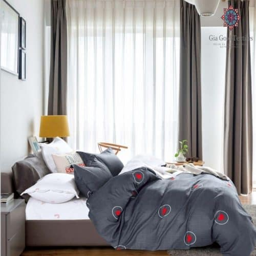 Pamut szürke alapon szív minta ágyneműhuzat