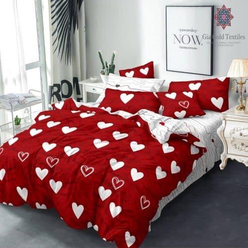 pamut ágynemű piros színben szív mintával