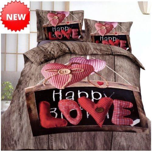 barna színben szív happy love felirat