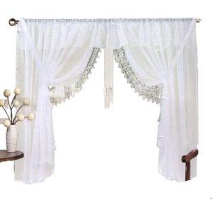 bézs és fehér színű panoráma függöny