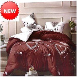 pamut ágynemű bordó fehér szív mintás