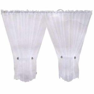 fehér krém egyszínű megkötős organza függöny