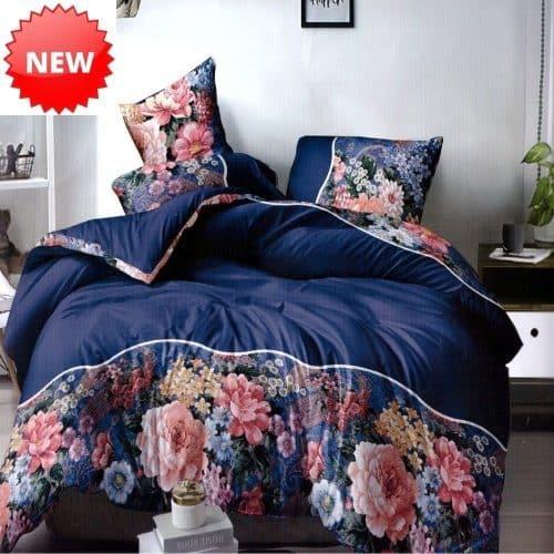 kék színben pamut ágynemű színes virágokkal