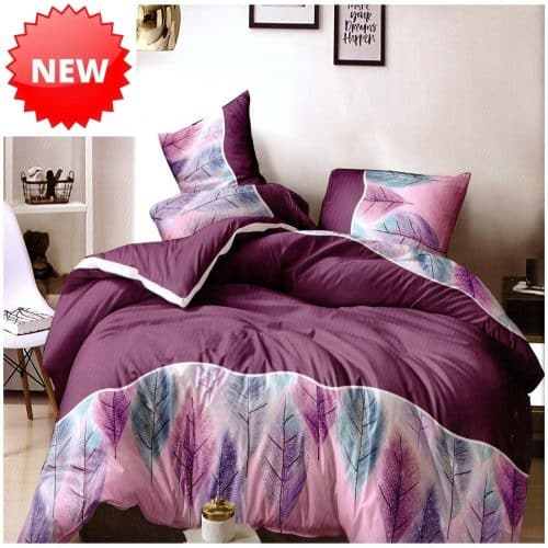 lila árnyalatok levél mintával pamut ágynemű
