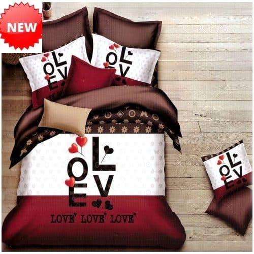 love felirat szív mintával pamut ágynemű