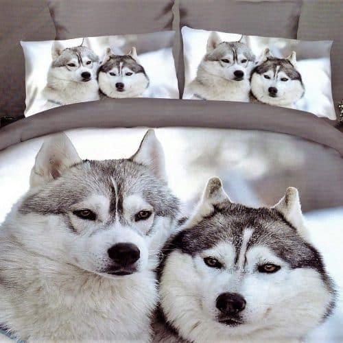 pamut ágynemű kutyusok a havas tájban