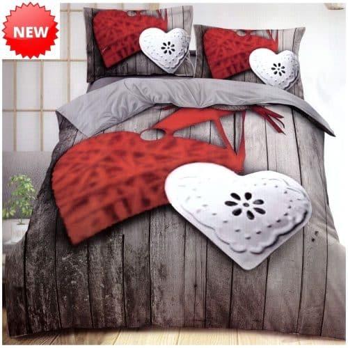 pamut ágynemű szürke piros fehér szívvel