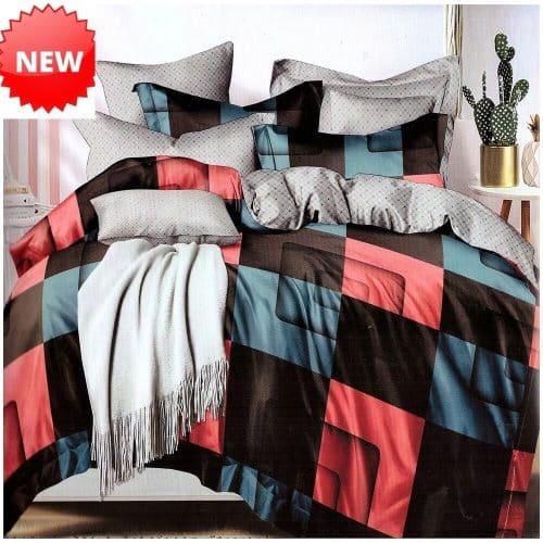 pamut ágyneműhuzat színes háló négyzet mintával