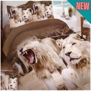 üvöltő oroszlán mintás pamut ágynemű
