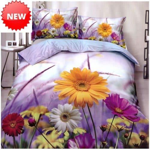 virágos mintával levendula alapon ágyneműhuzat