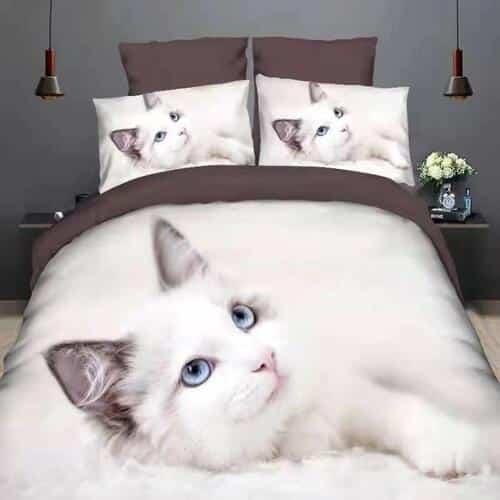 fehér cica kék szemekkel pamut ágynemű
