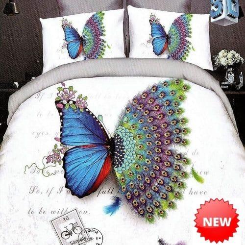 fehér színben pillangó és páva tollak