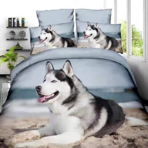 husky kutyus a parton mintás ágynemű