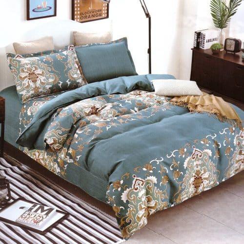 kékes zöld színben klasszikus minta ágynemű